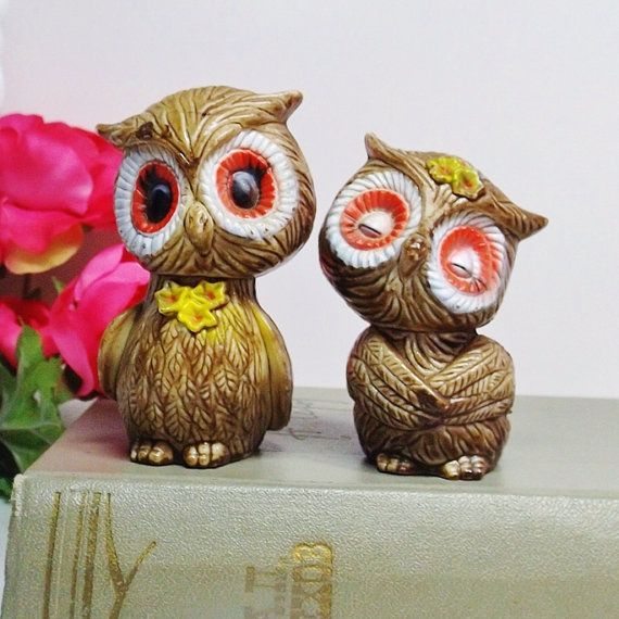 Owl salt and pepper shakers owl family animal family pair of owls owls
