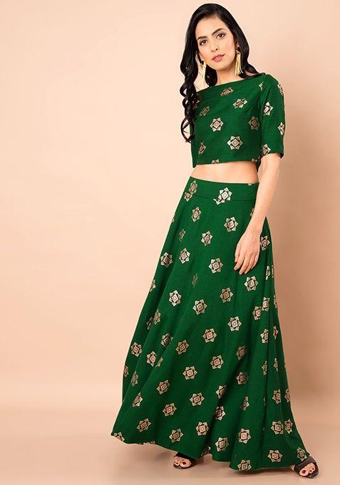 671f7c235d Green Foil Print Silk Maxi Skirt #IndoWestern #Skirt #Ethnic #Fashion  #SpringSummer #Style #MaxiSkirt #Green