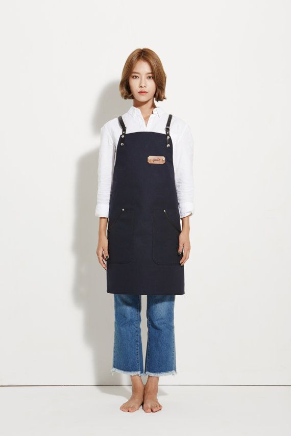 Barista Apron, Navy Canvas with Black Leather Strap Apron by KustomDuo  All KustomDuo aprons are one of a kind. The design is the same as our leather