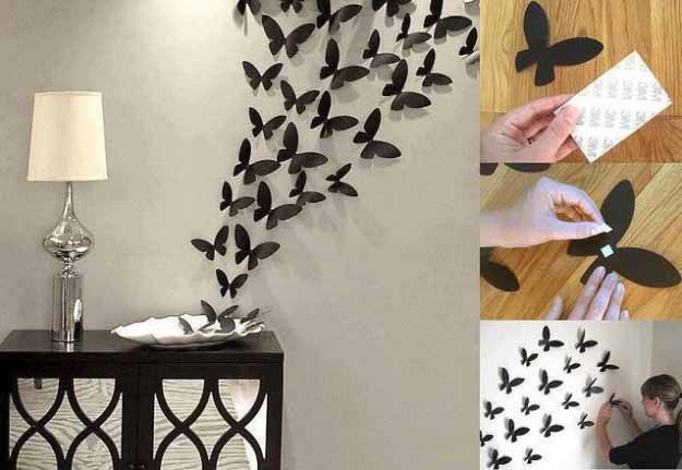 Cool Crafts You Can Make for Less than 5 Dollars | Cheap DIY Projects Ideas for Teens, Tweens, Kids and Adults | Butterflies Wall Decor | http://diyprojectsforteens.com/cheap-diy-ideas-for-teens/