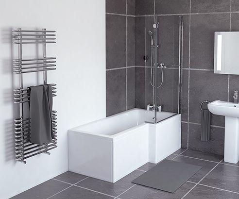 L- Shaped Shower Bath 1500mm Bath and Stand RH - V20141132 scene square medium