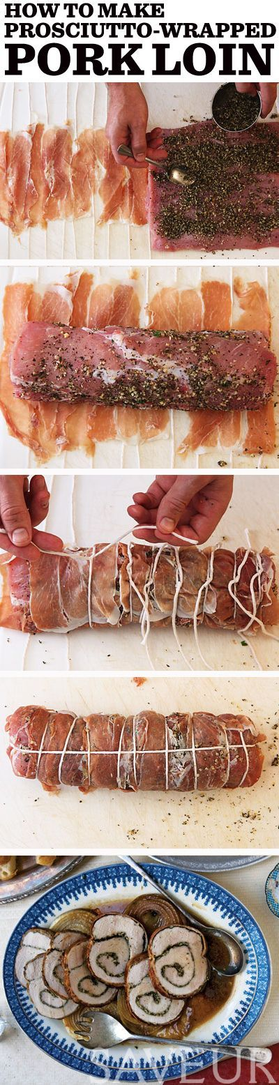 An herb-stuffed, prosciutto-wrapped pork loin is the perfect elegant, easy entree.