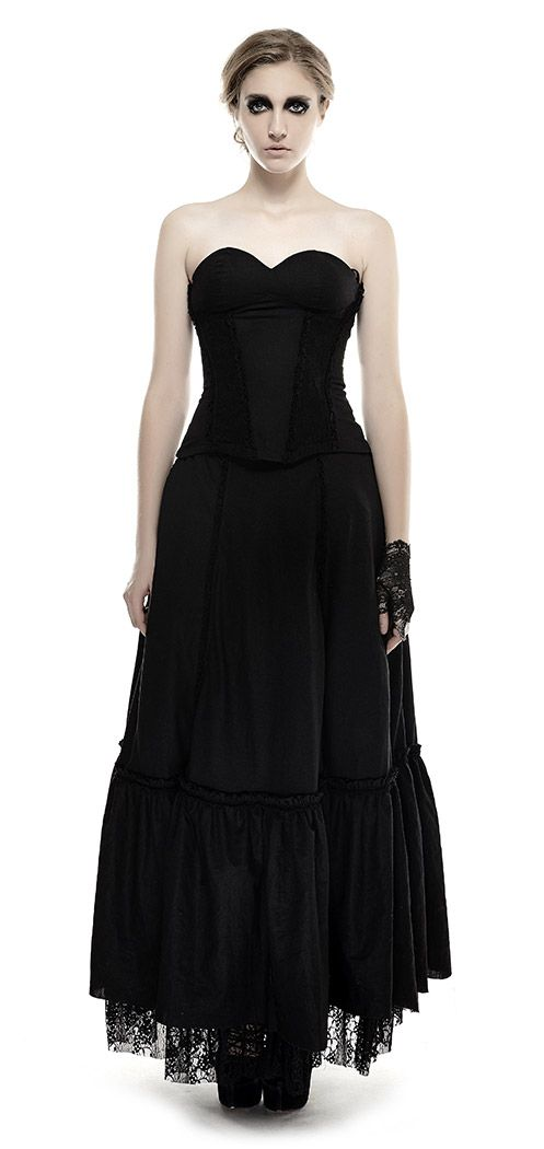 Long strapless black dress with adjustable lace skirt gothic Punk Rave