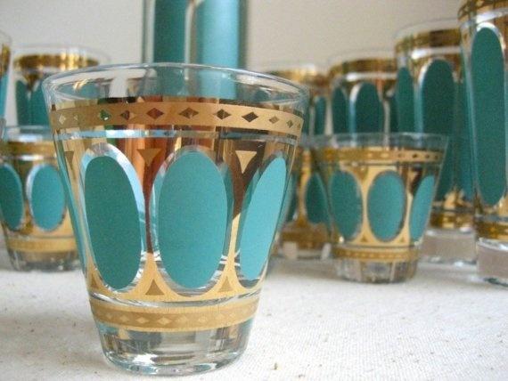 fred press glassware | Vintage Fred Press Glass Cocktail Set by BarkingSandsVintage