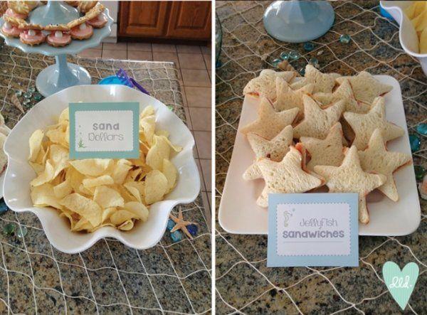 「砂」をイメージしておもてなしのポテトチップスも可愛いお皿に盛りつけて。 サンドイッチは星形にくり抜いて、「ヒトデサンド」!