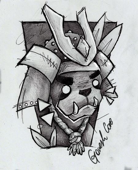 JELENICA INK.  Pug-samurai.  Pencil & pen & some PFS.  facebook.com/jelenica.ink