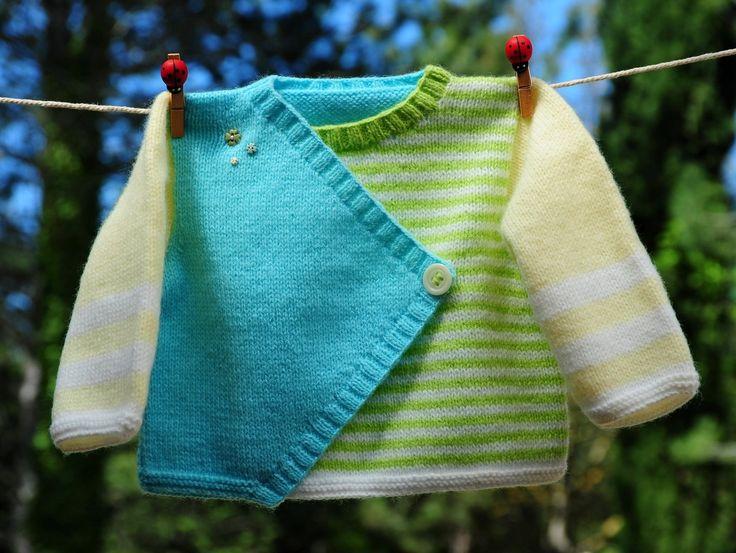 layette brassière croisée 3 mois neuve tricotée main : Mode Bébé par com3pom