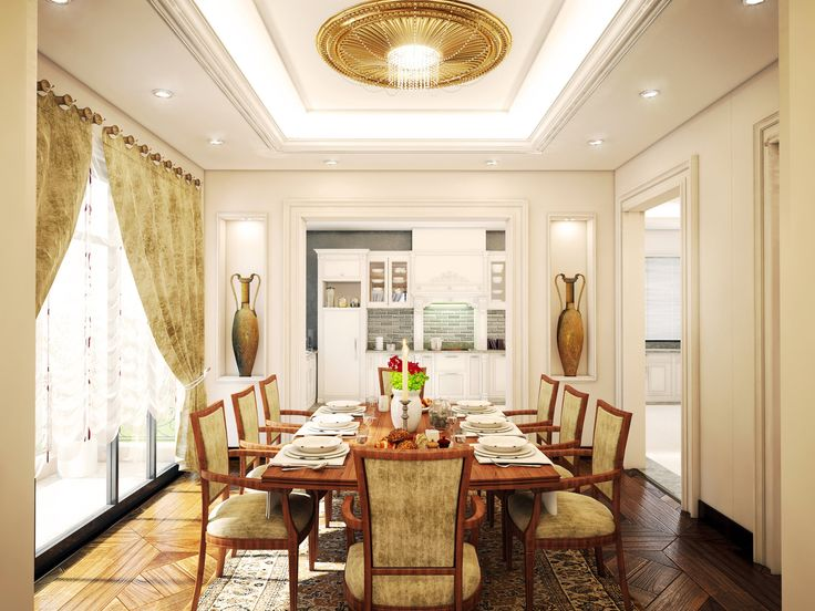 Classic Dining Room Design Inspiration With Natural Wooden Material On Floor And Modern Lighting Roof