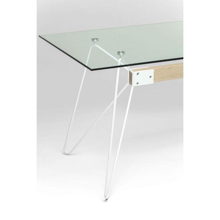 Τραπέζι Slope 160x80 Ένα κομψό τραπέζι με όμορφες λιτές γραμμές σε μοντέρνο design, με γυαλί ασφαλείας και βάση από ανοξείδωτο χάλυβα σε λευκό χρώμα και MDF με επικάλυψη από καπλαμά φλαμουριάς.