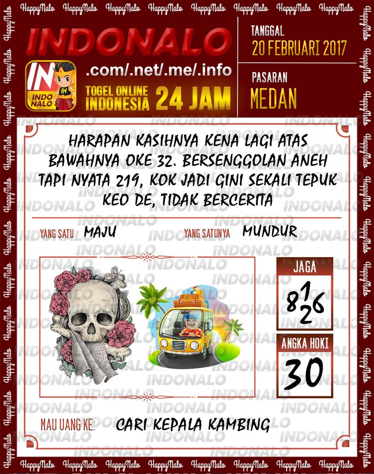 Taysen Hoki 4D Togel Wap Online Live Draw 4D Indonalo Medan 20 Febuari 2017