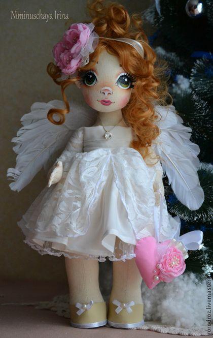 Коллекционные куклы ручной работы. Ярмарка Мастеров - ручная работа. Купить Рождественский ангел. Handmade. Бледно-розовый, крылья, перья