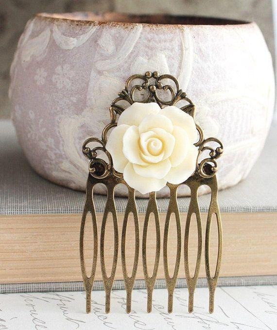 Rose Hair Comb Hair Accessories Cream Ivory par apocketofposies, $19.00