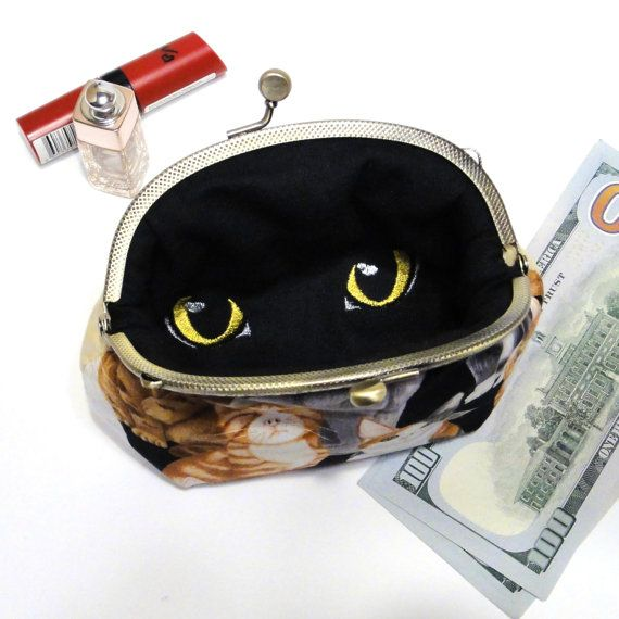 Kiss lock bag Christmas Gift lover Cat от LeatherBagsBackpacks