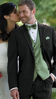 Harleys 4 Men Tuxedo Rental. A Must! Groom and groomsmen in black but the groom will have a different colored vest, bow tie and packet square.