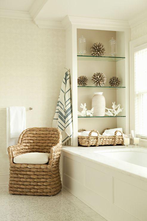 Beachy- bathrooms - spa bathroom, serene bathroom, drop in tub, soaking tub, paneled tub surround, paneled bath surround, marble ...