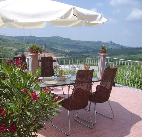 Terrace of Villa in the vineyards of Lombardy in the North of Italy.