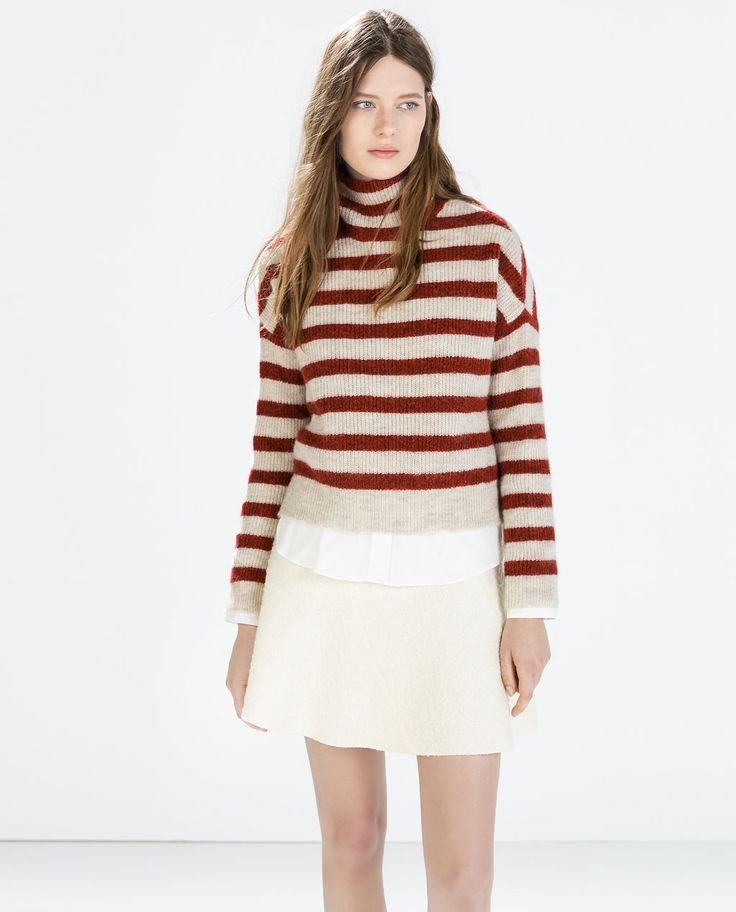 Image 2 of STRIPED TURTLENECK SWEATER from Zara