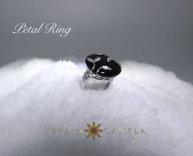 Petal Ring - A chic and Impactful piece. The simpleness of the silver leaves and black onyx ring can be worn and cherished for a very long time. It seems at the minute that rings are blooming right now with flowers, petals and vines plucked straight from the garden. We love these leaves wrapped around the stone, as it adds a whimsical touch to this feminine ring. #BCDecemberFavourites #BCMasterPieces #BRASACANELA