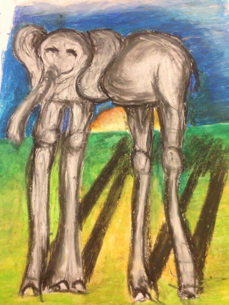 Uitprobeersel voor tekenopdracht 'de olifanten van Dali' voor groep 6