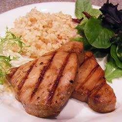 Barbecued teriyaki tuna steaks