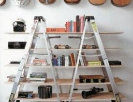 I love the idea of old ladders as shelves - great for kitchen or garage or ???