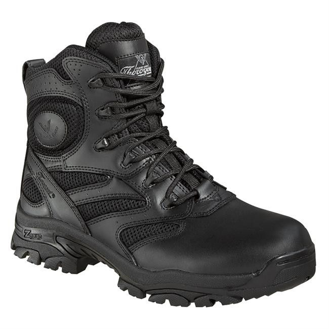 Thorogood has been providing quality work, uniform, and fire footwear since 1892. They are a leading manufacturer in engineering footwear safety and comfort. These full grain leather boots feature a n
