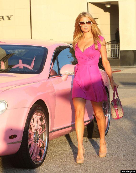 Paris Hilton Channels Barbie In Her Pink Bentley