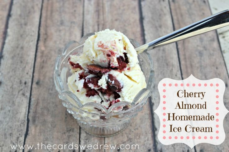 Easy cherry almond homemade ice cream in minutes without an ice cream maker #recipe