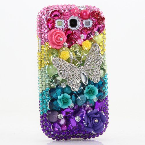 Samsung samsung galaxy s3 bling phone cases ... Bling Pink Yellow Aqua Purple ButterflyDesign Case Cover for Samsung