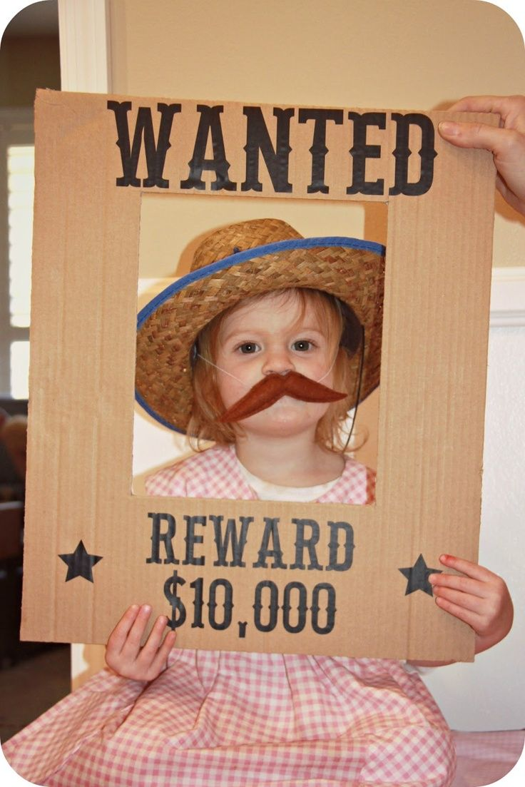Homemade by Jill: Lilly's Cowgirl Party  Home made Cardboard  cut and black marker, kids hat and make a mustach, could be paper, and use tape, Love this Idea!