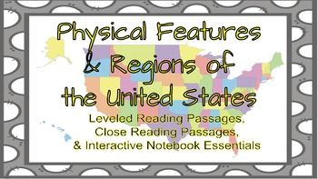 This download includes 45 pages of Physical Features and Regions of the United States essentials!! There are leveled reading passages & close reading passages about the regions of the U.S., Physical Features of the U.S., & Man-made features of the U.S.