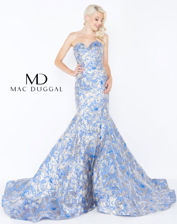 666b49af218 Mac Duggal Light Blue Periwinkle Strapless Mermaid print Ypsilon Dresses  Prom Pageant Evening Wear store in Salt Lake City Utah Sweethearts  Homecoming ...