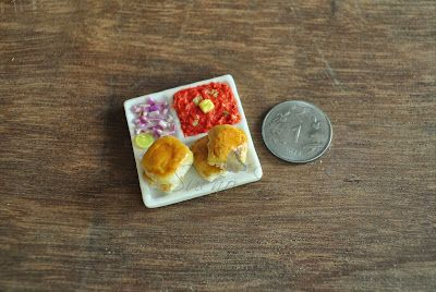 Indian food miniature - Pav Bhaji ( handmade clay miniature )