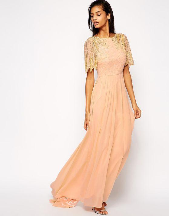 Virgos Lounge Lena Maxi Dress With Embellishment - Pink - Virgos Lounge