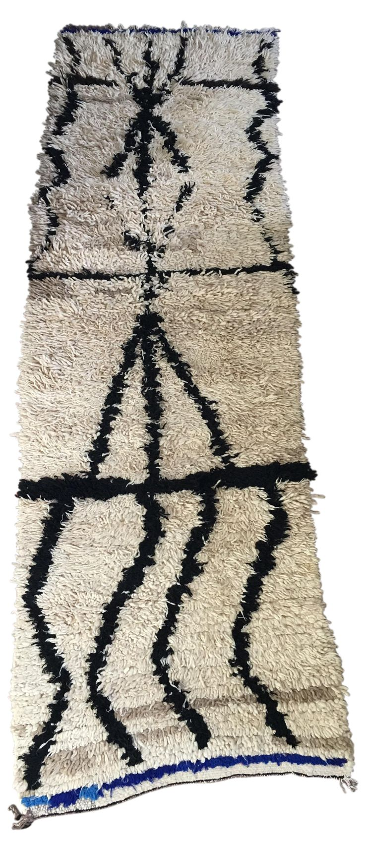 vintage azilal abstract pattern moroccan runner rug black u0026 cream with blue accents