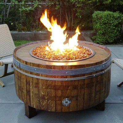 The Wine Barrel Fire Pit is made from real reclaimed wine barrels that were previously used to ferment, age & store wines. #VinDeFlame