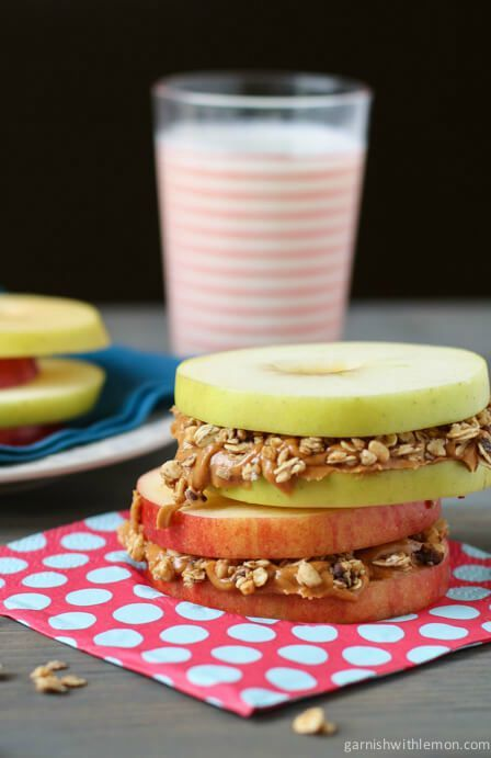 This recipe for Apple Sandwiches with Almond Butter and Granola couldn't be more perfect for back-to-school time. Whether you choose to whip them up for your little ones for breakfast or as a sweet treat after school, they're always a wonderful kid-friendly snack option.