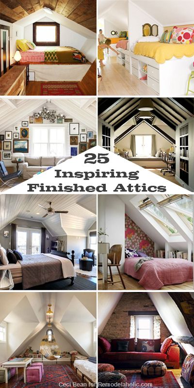 25 Inspiring Finished Attics via Remodelaholic.com #remodel #attic Like the last one with the built in bookshelves!