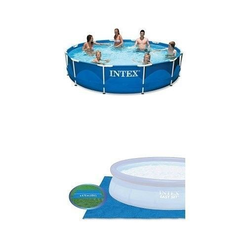 Pool-Set-and-Pool-Ground-Cloth-Bundle-Intex-12ft-X-30in-Metal-Frame-Garden-New