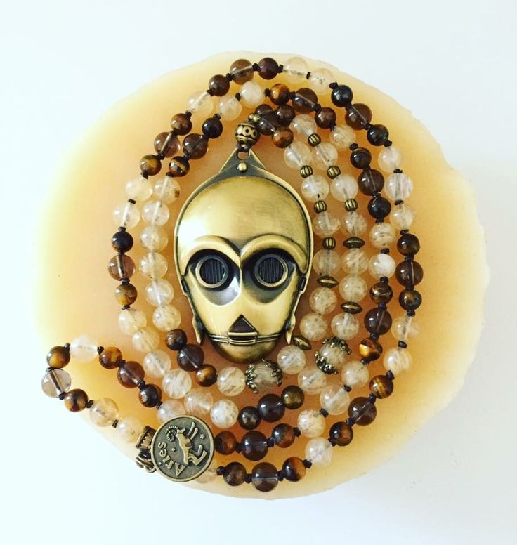 """Is this the droid you're looking for?  108 bead hand-knotted C-3P0 Mala! STONES: Champagne Quartz, Smokey Quartz and Tiger Eye. You choose your Zodiac charm for the back! I have other bronze charms to choose from if you don't want a zodiac ;) Hangs at about 21.5"""""""