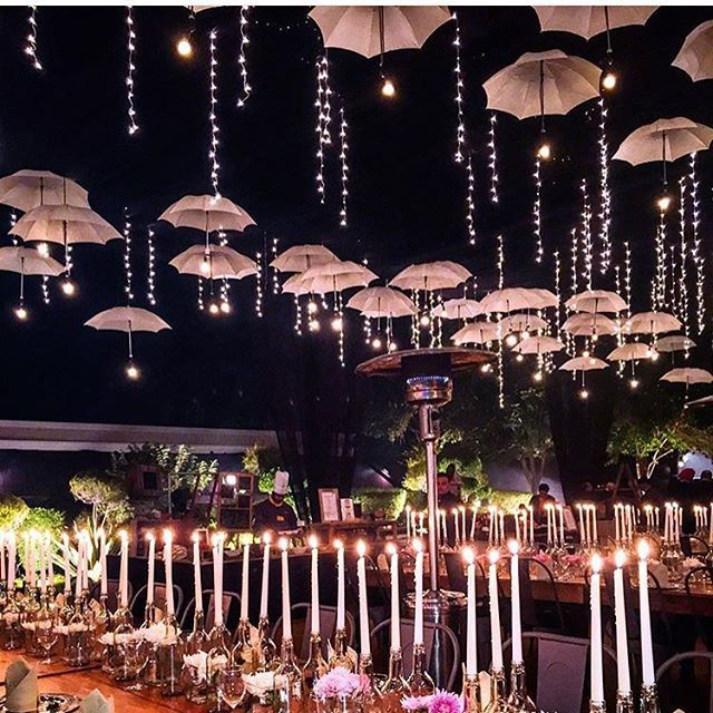 Now is that a magical reception setup or what ? The umbrellas look like theyr suspended in mid air. Decor by @weddingduoindia . See more magical decor ideas on the WedMeGood app .Regram from @missstylefiesta |  #wedding #indianwedding #decor #weddingdecor #indianweddingdecor #reception #decor #magical #nighttime #lighting #umbrellas #candles #weddingday