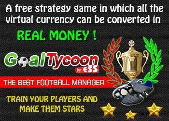 GoalTycoon is a strategy game, in which you have the possibility to convert your virtual currency into real money. It is an online browser game, therefore you do not need any other programs installed in order to play. It is one of the few football manager games where you are rewarded for your daily activity.