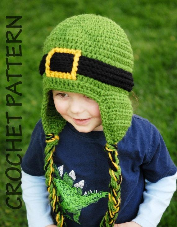 Crochet Pattern Leprechaun Hat : CROCHET HAT PATTERN Leprechaun Earflap Beanie