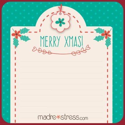 Descargable. Carta para Santa/PapaNoel/Reyes  https://madrestress.files.wordpress.com/2014/11/navidad.pdf