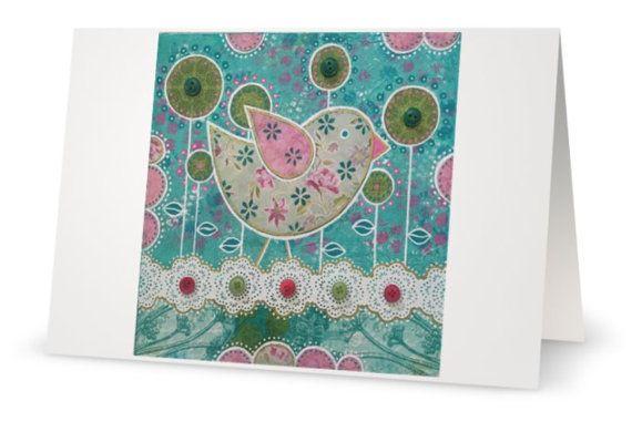 BLANK CARD 'Tweet'  mixed media artwork by by MrsButtonsEmporium