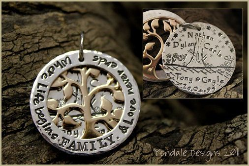 I love this family tree pendant: YONDALE DESIGNS Personalised Hand Stamped Silver Jewellery & Giftware :
