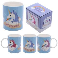 Unicorn Mug 'I don't believe in humans'...for those that believe! Covered in 3 coloured unicorns this mug would start the day off right.