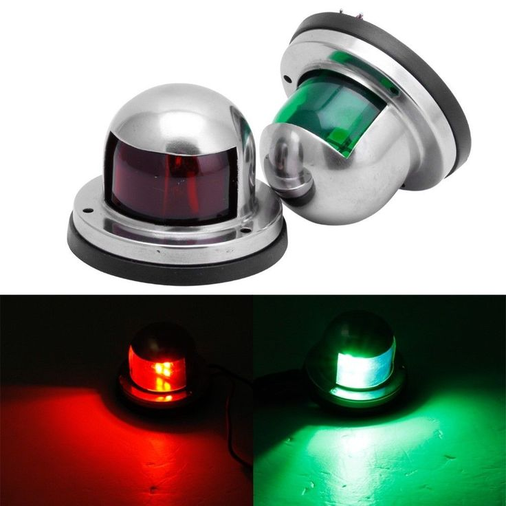 Marine One Pair Bow Navigation Light For Boats -Stainless Housing Red/Green