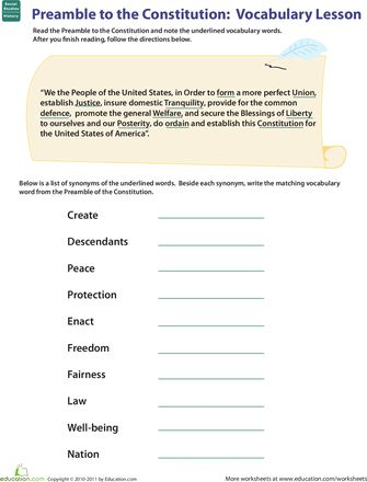 Worksheets: Vocab in History: Preamble to the Constitution 5th