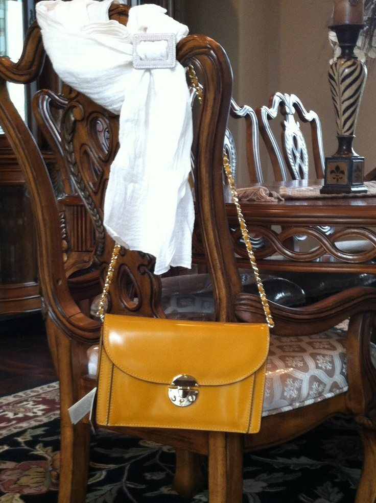 Pratesi shoulder bag or clutch in mustard. LOVE IT!